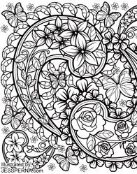 Flower Butterfly Coloring pages colouring adult detailed advanced printable Kleuren voor volwassenen coloriage pour adulte anti-stress desenhos pintar anti-stress
