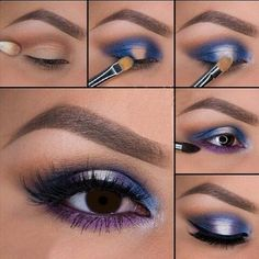 Best Ideas For Makeup Tutorials Picture DescriptionImage via How to Apply Smokey Eyeshadow Step by Step Image via See make-up ideas Step by Step. Make-up in purple and blue tones. Image via Make-up lessons for beginners as beautif Bronze Eye Makeup, Purple Eye Makeup, Love Makeup, Makeup Inspo, Makeup Inspiration, Beauty Makeup, Makeup Lips, Makeup Eyeshadow, Smokey Eyeshadow