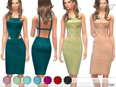 Cut Out Lace Bodice Pencil Dress by ekinege at TSR • Sims 4 Updates