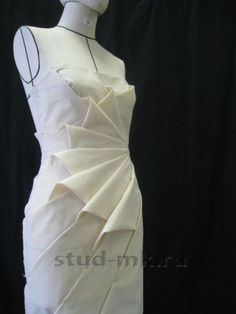 origami petal fold outcome by nelleke at origami master online class by shingo sato - PIPicStats White dress (draped, pinned to dress form); All Things Sewing and Pattern Making Draping Techniques, Techniques Couture, Fashion Sewing, Diy Fashion, Moda Origami, Origami Folding, Clothing Patterns, Dress Patterns, Sewing Patterns