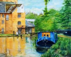 Narrow Boat at Coxes Lock, near Addlestone in Surrey