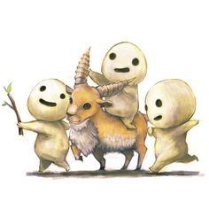 branch ghibli horns kodama kodama (artist) mononoke hime riding shishigami found on Polyvore