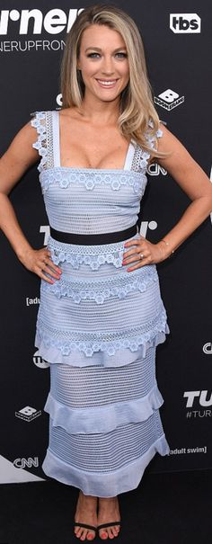 Who made Natalie Zea's blue lace dress?