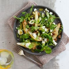 Pear, Feta, Walnut and Pea Shoot Salad - Woman And Home