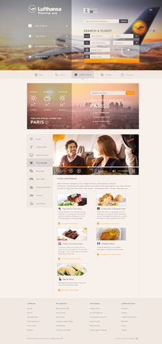 Lufthansa Concept by Erik Lindén, via Behance web design layout Flat Web Design, Interaktives Design, Small Business Web Design, Modern Web Design, Layout Design, Website Design Inspiration, Best Website Design, Website Designs, Website Ideas