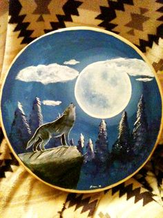 Handcrafted Buffalo hide 18 inch Drum painting Wolf Dreams made and painted by Lozen BrownBear    http://www.etsy.com/shop/LozensArt