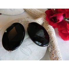 Onyx Earrings, Statement Earrings, Black Earrings, Sterling Silver... (€28) ❤ liked on Polyvore featuring jewelry and earrings