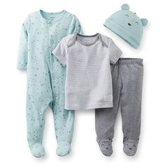 """Carter's Boys 4 Piece Blue/Grey Star Print Footie, Striped Short Sleeve Top, Footed Pant and Hat Set - Carters - Babies """"R"""" Us"""