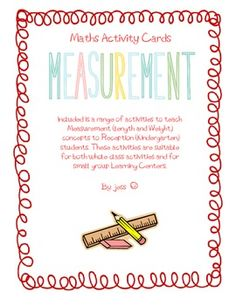 Measurement Activity Cards