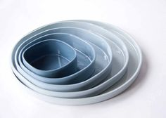 THE SET of 5 porcelain plates ceramic design dishes by Designlump