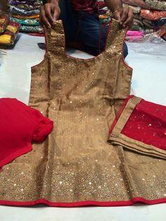 Metallic gold red salwar suit