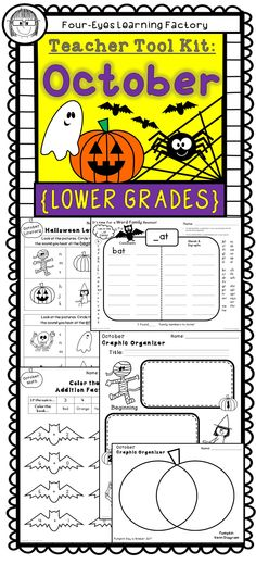 Over 40 teacher tools for the whole month of October! Celebrate Halloween (and some of the lesser known October holidays) with these fun and educational activities for literacy, math and more! This Teacher Tool Kit is a perfect addition to your collection of Holiday activities.