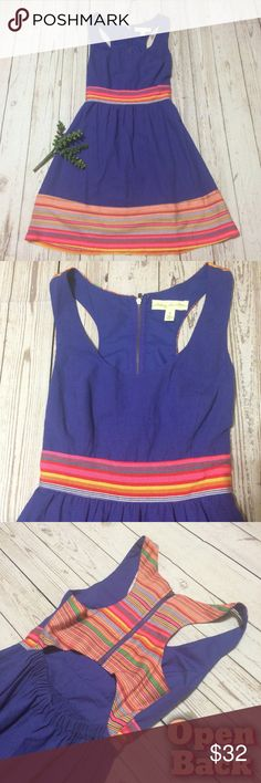 """⚡️Flash Sale Urban Outfitters Open-Back Dress Excellent condition. Purple-blue w/ colorful embroidery at waist, upper back & bottom hem. Elastic waist in back under an open cut-out back. Back zip. Labeled size small, but best fits XS. Measurements lying flat: bust 15.5"""", waist 12.5"""" (although back is elastic so stretches a little in waist), length 34"""". 💘 ⚡️Flash sale price Firm Unless Bundled. No offers please. Urban Outfitters Dresses"""