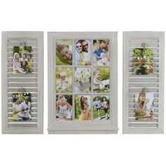 Melannco 3-piece Windowpane Shutter 9-Opening 4'' x 6'' Collage Frame Set