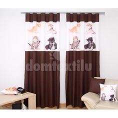 Hnedý záves do izby so 4 mačiatkami Curtains, Home Decor, Insulated Curtains, Homemade Home Decor, Blinds, Draping, Decoration Home, Drapes Curtains, Sheet Curtains