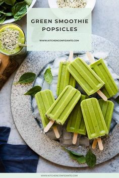 Turn your favorite green smoothie into an icy treat perfect for any time of day, even after a workout! #popsicles #icecream #greensmoothiepopsicles #delicious | kitchenconfidante.com @kitchconfidante Healthy Dessert Recipes, Veggie Recipes, Vegetarian Recipes, Cooking Recipes, Veggie Food, Ice Lolly Recipes, Popsicle Recipes, Cream Recipes, Smoothie Popsicles