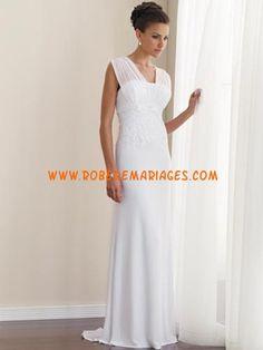 Sheath / Column Scoop V-Neck Empire Cap Sleeve Non-Strapless Satin Chiffon  Wedding Dress - weddingsabeautiful