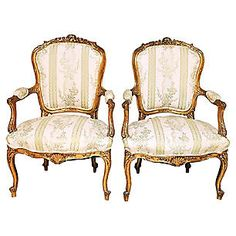 19th-C. French Gilt Armchairs, Pair