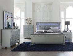 MARIN- Modern 5pcs Grey King LED Lighted Headboard Mirror Bedroom Set Furniture #Handmade #Contemporary