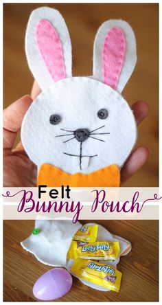 Felt Bunny Pouch for Easter Treats!  Free template included