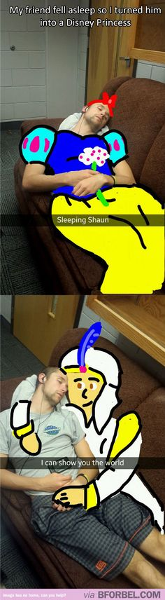 """My friend fell asleep so I turned him into a Disney Princess…"""