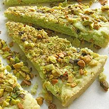 Huckleberry Chevre Cheesecake Squares: pistachio shortbread crust ...