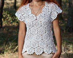 Как связать блузку.Кофточка летняя - 1 часть - Crochet blouse summer - в...