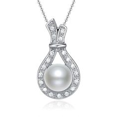 Ladies Elegant Inlaid Pearl Necklace ($7.99) ❤ liked on Polyvore featuring jewelry, necklaces, white pearl necklace, pearl necklace, pearl jewellery and pearl jewelry