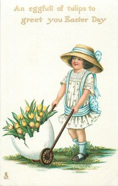 """""""An eggful of tulips to greet you Easter day.""""  little girl with yellow tulips"""
