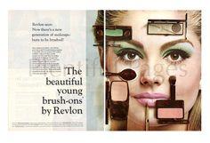 "1966 Revlon Cosmetics Vintage Ad, 1960's Beauty, Retro Beauty, 1960's Make Up, 1960's Fashion, Advertising Art, 60's Eyeshadow, ""Brush-Ons""."