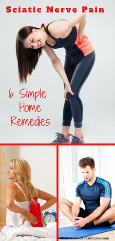 Learn 6 sciatica relief remedies you can do at home right now. These simple tips will help you ease your lower back pain naturally. Sciatic Nerve Relief, Sciatic Pain, Back Pain Remedies, Natural Headache Remedies, Natural Cures, Herbal Remedies, Sciatica Stretches, Lower Back Pain Relief, Hip Pain Relief