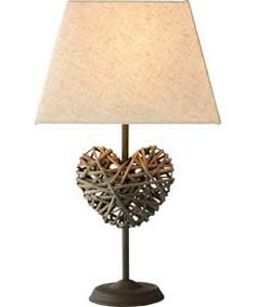 Heart of House Erin Rattan Heart Table Lamp - Chocolate.
