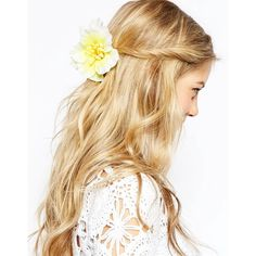 ASOS Tropical Flower Hair Corsage ($5) ❤ liked on Polyvore featuring accessories, hair accessories, hair, hairstyle and yellow