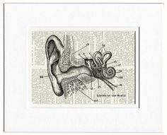 listen to the music -  vintage artwork printed on old dictionary page