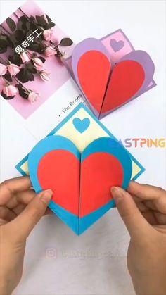 Diy Crafts Hacks, Diy Crafts For Gifts, Diy Arts And Crafts, Creative Crafts, Fun Crafts, Easy Paper Crafts, Paper Crafts Origami, Instruções Origami, Diy Origami Cards