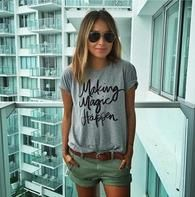 Cheap t-shirt for women, Buy Quality print t-shirt directly from China making magic happen Suppliers: Summer New make magic happen printed T-shirts for women t-shirt femme camisetas poleras tshirt female t shirts female tops Spring Shorts Outfits, Denim Shorts Outfit, Shorts Jeans, Cool Summer Outfits, Jean Outfits, Short Outfits, Casual Outfits, Casual Summer, Summer Shorts