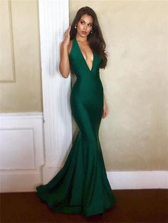 Sexy Emerald Backless V-neck Prom Dresses, Mermaid Prom Dresses, Long Prom Dresses, Cheap Prom Dresses ML13103 by moonlight, $128.44 USD