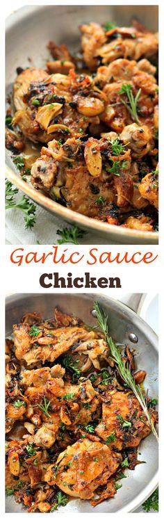 Garlic Sauce Chicken   www.diethood.com   Pan-Seared Chicken Thighs prepared in an amazing garlic sauce.   #chicken #dinner