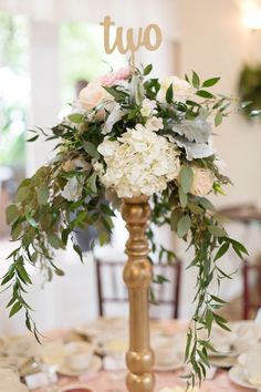 White, Pink, Blush and Sage Green Tall Wedding Centerpieces with Table Numbers