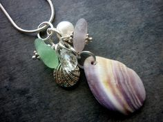 Purple Sea Glass Necklace Wampum Shell Cluster by TheMysticMermaid