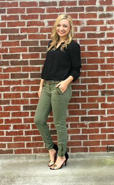 Black blouse, olive jeans, touch of leopard and metallics Black Blouse, Black Pants, Collared Shirt Outfits, Olive Jeans, Fall Winter Outfits, Work Pants, Collar Shirts, Black Tops, Autumn Fashion