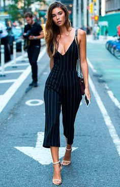 Sexy pinstriped jumpsuit - pair with a pale pink blazer for work and strip it off for after work drinks ☀️ Stylish outfit ideas for women who follow fashion from Zefinka.