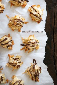 Chocolate Drizzled Coconut Macaroons – great for Easter dessert.