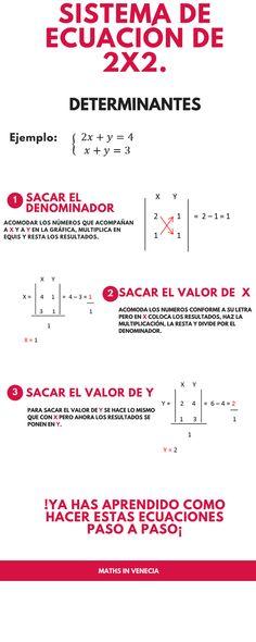sistema de ecuacion de 2x2 por determinantes. Data Science, Algebra, Critical Thinking, Microsoft, Helpful Hints, Physics, Teacher, School, Tips
