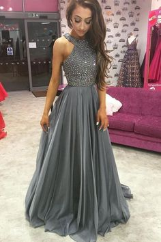 O-Neck Beading A-Line Long Cheap Prom Dresses Prom Dress A-Line, Sleeveless Prom Dress, Grey Prom Dress, Cheap Prom Dress, Chiffon Prom Dress Prom Dresses 2020 Long Prom Dresses Uk, Grey Evening Dresses, Grey Prom Dress, Beaded Prom Dress, Cheap Prom Dresses, Prom Party Dresses, Beaded Top, Dress Long, Evening Gowns