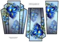 - This lovely art deco style, shaped topper features a beautiful blue iris. It has two stacker layers to add depth. Hobbies And Crafts, Diy And Crafts, Paper Crafts, Paul Design, 3d Sheets, Book Flowers, Embossed Paper, 3d Cards, Christmas Scenes