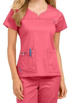 by Med Couture Lexi notch neck scrub top Cute Nursing Scrubs, Nursing Wear, Scrubs Outfit, Scrubs Uniform, Med Couture Scrubs, Stylish Scrubs, Iranian Women Fashion, Medical Uniforms, Womens Scrubs