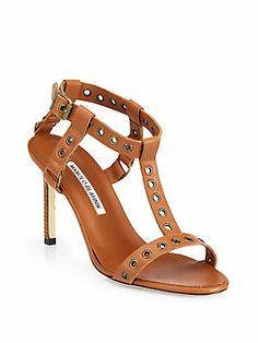 Manolo Blahnik Kaypoti Leather T-Strap Sandals
