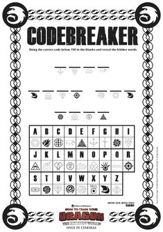 Dragon Codebreaker Activity Page from HTTYD 3 - How To Train Your Dragon 3 The Hidden World Free Printable Dragon Birthday Parties, Dragon Party, Hiccup And Toothless, Httyd 3, Dragons 3, Night Fury Dragon, Hidden Words, Dragon Tales, Dragon Crafts