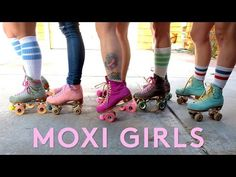 Don't think girls can skate? The Moxi Skate team is a powerhouse of thick thighs, knee socks, and killer drop ins. Watch as these skate sisters . Outdoor Roller Skates, Retro Roller Skates, Roller Derby Girls, Quad Roller Skates, Roller Disco, Snowboard Girl, Skate Girl, Inline Skating, Roller Skating